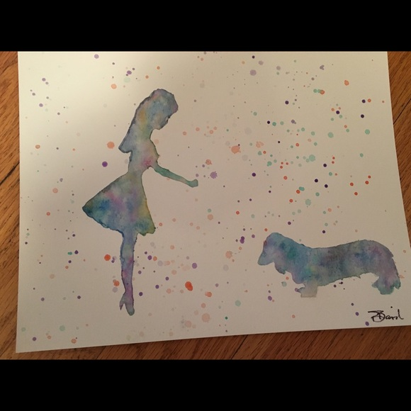 Other - Watercolor Painting girls/dachshund